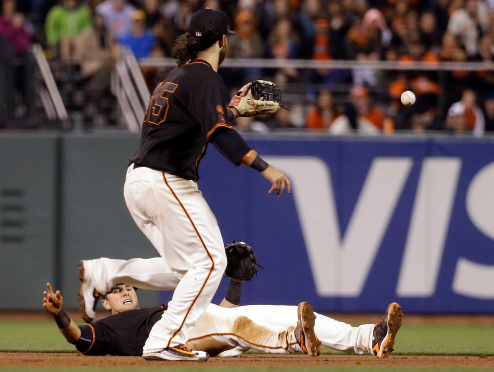 . San Francisco Giants second baseman Joe Panik, bottom, flips the ball to shortstop Brandon Crawford on a infield single from Colorado Rockies\' Nolan Arenado during the eighth inning of a baseball game Friday, May 6, 2016, in San Francisco. (AP Photo/Marcio Jose Sanchez)