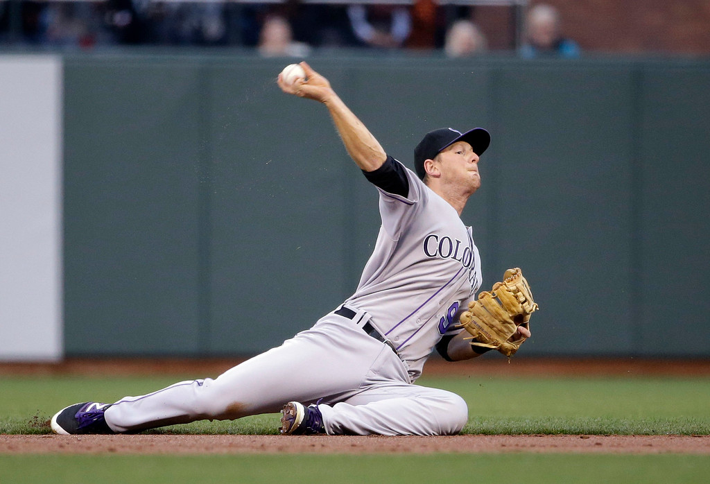 . Colorado Rockies second baseman DJ LeMahieu makes a throw from the ground to put out San Francisco Giants\' Joe Panik at first base after a ground ball during the first inning of a baseball game Friday, May 6, 2016, in San Francisco. (AP Photo/Marcio Jose Sanchez)