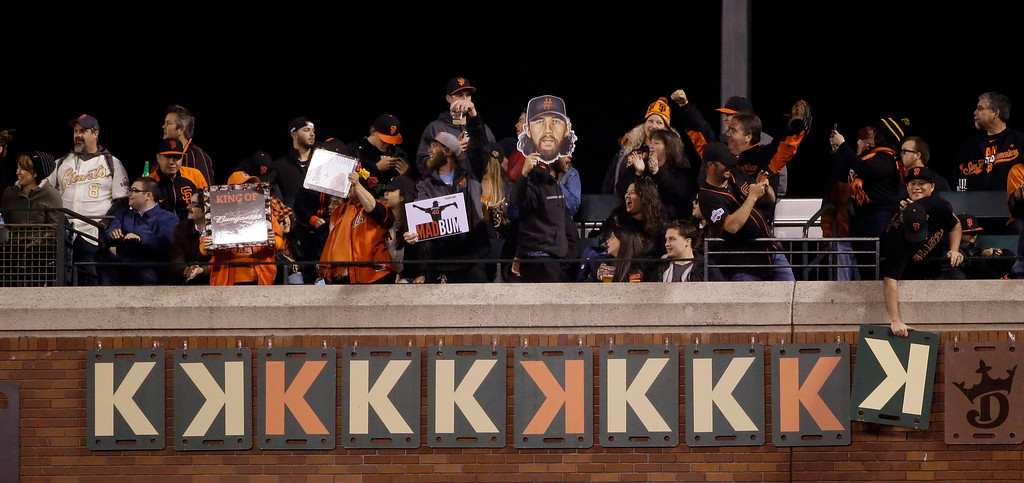 . Fans plays Ks on a wall indicating the amount of strikeouts from San Francisco Giants starting pitcher Madison Bumgarner during the eighth inning of a baseball game against the Colorado Rockies Friday, May 6, 2016, in San Francisco. (AP Photo/Marcio Jose Sanchez)