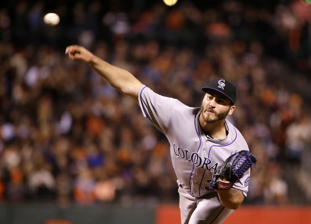 . Colorado Rockies starting pitcher Chad Bettis throws to the San Francisco Giants during the sixth  inning of a baseball game Friday, May 6, 2016, in San Francisco. (AP Photo/Marcio Jose Sanchez)