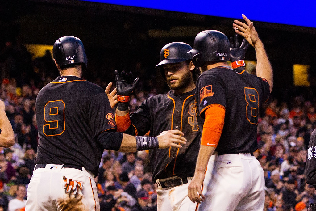 . SAN FRANCISCO, CA - MAY 06: Brandon Crawford #35 of the San Francisco Giants is congratulated by Brandon Belt #9 and Hunter Pence #8 after hitting a three run home run against the Colorado Rockies during the second inning at AT&T Park on May 6, 2016 in San Francisco, California.  (Photo by Jason O. Watson/Getty Images)