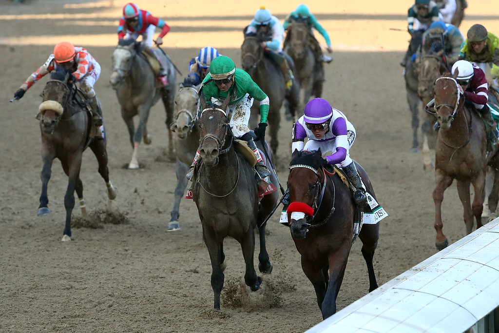 . Nyquist #13, ridden by Mario Gutierrez, crosses the finish line to win the 142nd running of the Kentucky Derby at Churchill Downs on May 07, 2016 in Louisville, Kentucky.  (Photo by Maddie Meyer/Getty Images)