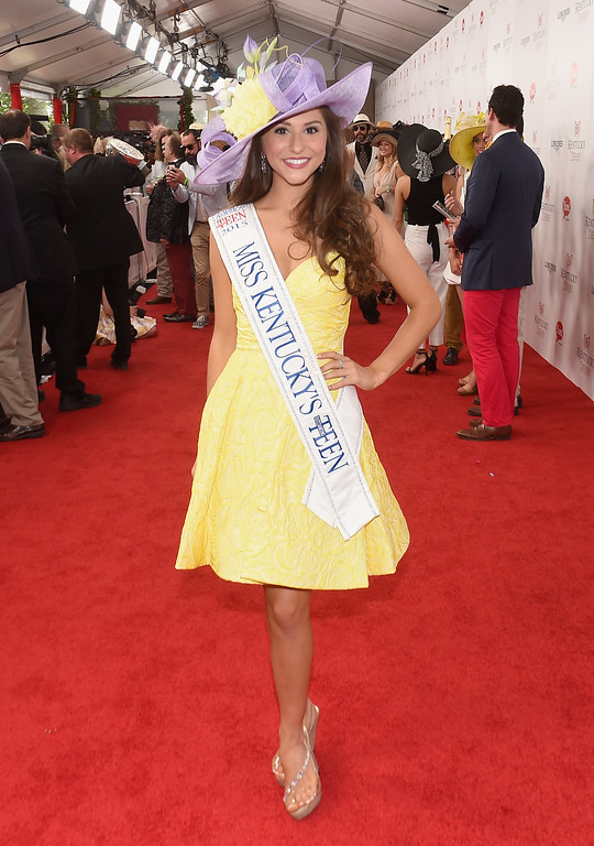 . Miss Kentucky\'s Outstanding Teen 2015 Kennedy Sabharwal arrives at the 142nd Kentucky Derby at Churchill Downs on May 7, 2016 in Louisville, Kentucky.  (Photo by Nicholas Hunt/Getty Images)