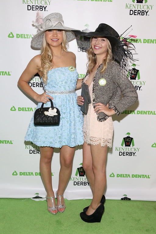 . Actors Megan Scrimshaw (L) and Sammi Barber attend the Delta Dental Celebrity Green Room during the 142nd Kentucky Derby at Churchill Downs on May 7, 2016 in Louisville, Kentucky.  (Photo by Robin Marchant/Getty Images for Delta Dental)
