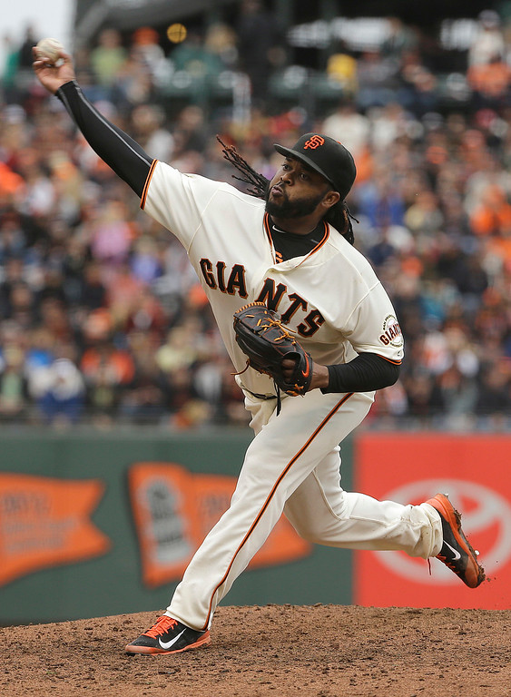 . San Francisco Giants pitcher Johnny Cueto throws against the Colorado Rockies during the ninth inning of a baseball game in San Francisco, Saturday, May 7, 2016. (AP Photo/Jeff Chiu)