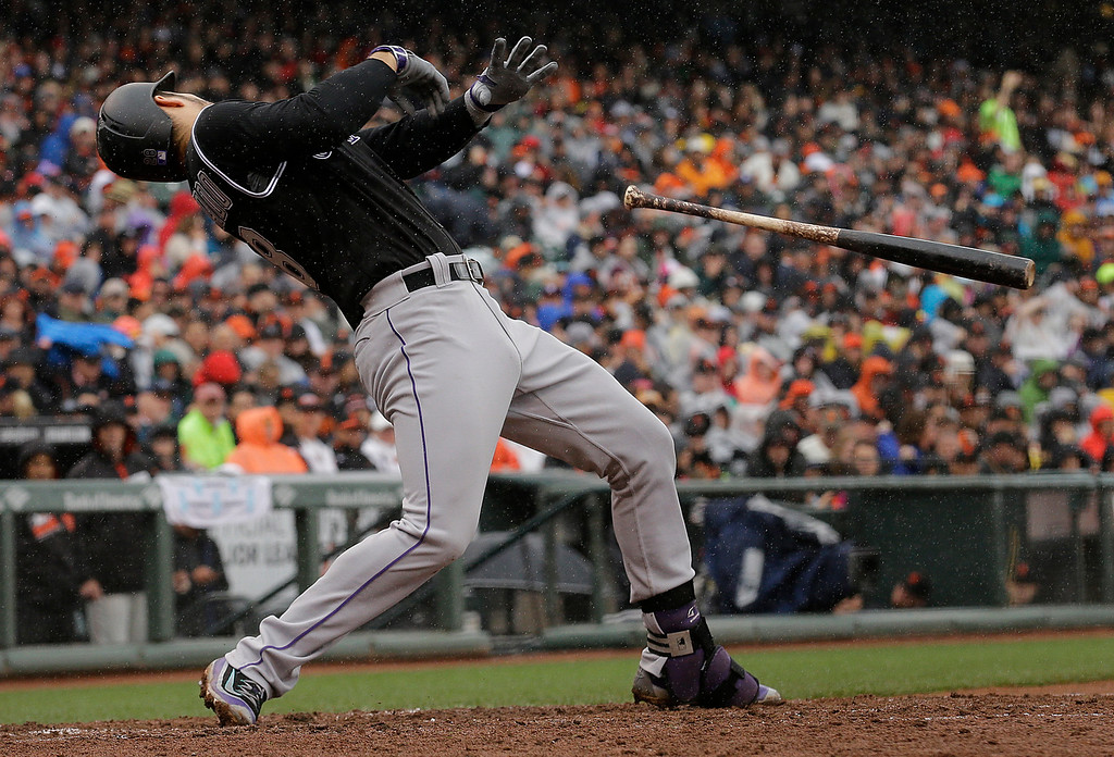 . Colorado Rockies\' Nolan Arenado leans back to avoid a pitch by San Francisco Giants pitcher Johnny Cueto to reach base on a walk during the fifth inning of a baseball game in San Francisco, Saturday, May 7, 2016. (AP Photo/Jeff Chiu)
