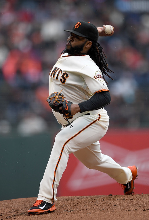 . SAN FRANCISCO, CA - MAY 07:  Johnny Cueto #47 of the San Francisco Giants pitches against the Colorado Rockies in the top of the first inning at AT&T Park on May 7, 2016 in San Francisco, California.  (Photo by Thearon W. Henderson/Getty Images)
