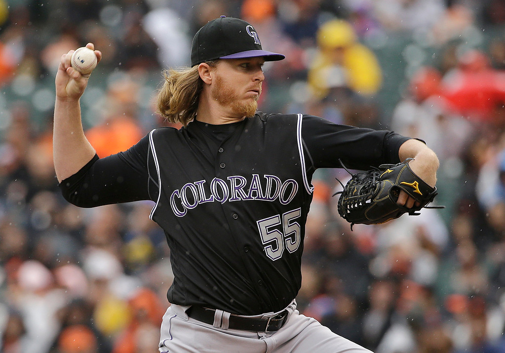 . Colorado Rockies pitcher Jon Gray (55) throws against the San Francisco Giants during the first inning of a baseball game in San Francisco, Saturday, May 7, 2016. (AP Photo/Jeff Chiu)