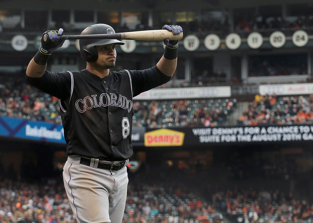 . Colorado Rockies\' Gerardo Parra reacts after lining out against the San Francisco Giants during the eleventh inning of a baseball game in San Francisco, Saturday, May 7, 2016. The Giants won 2-1. (AP Photo/Jeff Chiu)