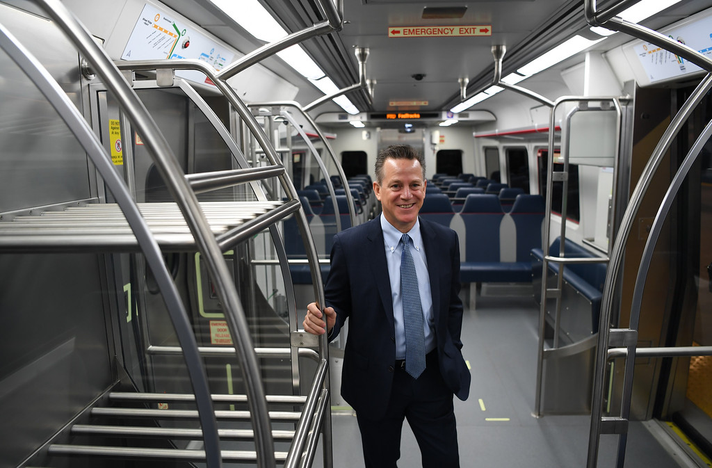 . DENVER, CO - APRIL 22: RTD General Manager Dave Genova stands on the University of Colorado A-Line at Denver International Airport, April 22, 2016. The line will open to opened for commuters at noon. (Photo by RJ Sangosti/The Denver Post)