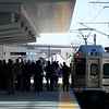 Dignitaries arrive on the University of Colorado A-Line at Denver International Airport, April 22, 2016.  (Photo by Andy Cross/The Denver Post)