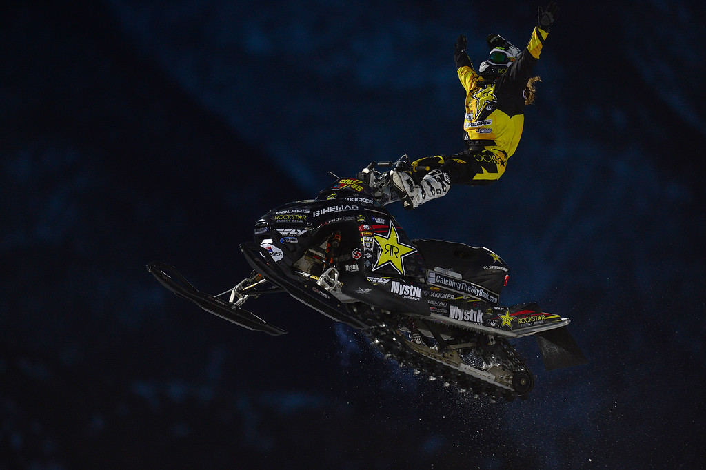 . ASPEN, CO - JANUARY 29: Colten Moore pulls a trick during his first run during Snowmobile Freestyle at Winter X Games 2016 at Buttermilk Mountain on January 29, 2016 in Aspen, Colorado. Joe Parson won the event with a score of 90. (Photo by Brent Lewis/The Denver Post)