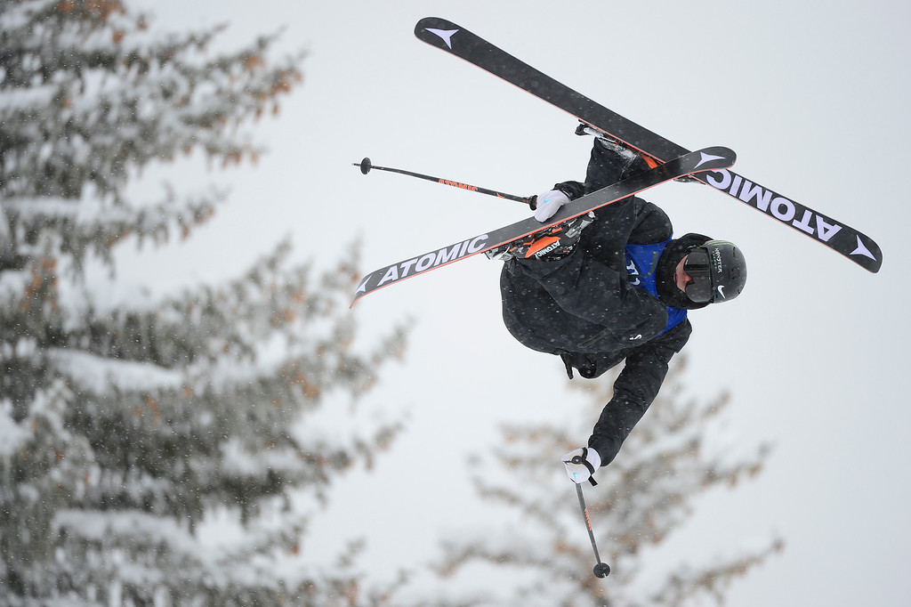 . ASPEN, CO - JANUARY 31: Gus Kenworthy catches some air on his third run during Men\'s Ski Slopestyle at Winter X Games 2016 at Buttermilk Mountain on January 31, 2016 in Aspen, Colorado. Jossi Wells won the event with a score of 90 coming after his last run. (Photo by Brent Lewis/The Denver Post)