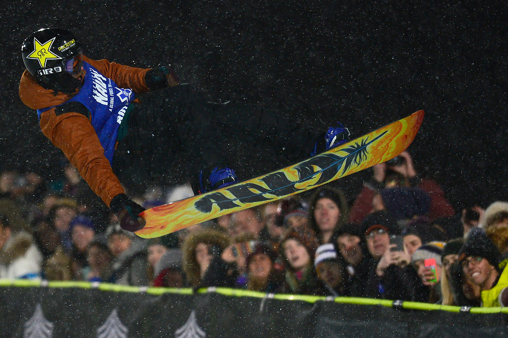 . Brett Esser goes for a tail grab in his first run during men\'s halfpipe finals at Winter X Games 2016 at Buttermilk Mountain on January 29, 2016 in Aspen, Colorado. The event was canceled after the first set of runs due to weather. Matt Ladley, from Steamboat Springs, Colorado, took the gold with a score of 82.33 after finishing one run. (Photo by Brent Lewis/The Denver Post)