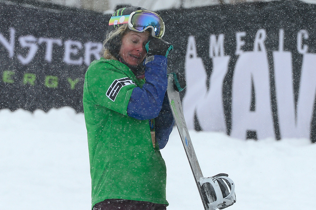 . ASPEN, CO - JANUARY 31: Lindsey Jacobellis wipes away tears after finding out she won the women\'s ski cross finals at Winter X Games 2016 at Buttermilk Mountain on January 31, 2016 in Aspen, Colorado. Lindsey Jacobellis won the event with a time of 1:00.957. (Photo by Brent Lewis/The Denver Post)