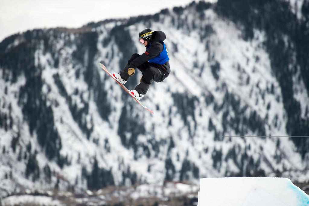 . Torstein Horgmo of Norway hits the final jump of his final run during men\'s snowboard slopestyle at Winter X Games 2016 Aspen at Buttermilk Mountain on January 30, 2016, in Aspen, Colorado. Forgo finished 11th with a score of 26.66. (Photo by Daniel Petty/The Denver Post)