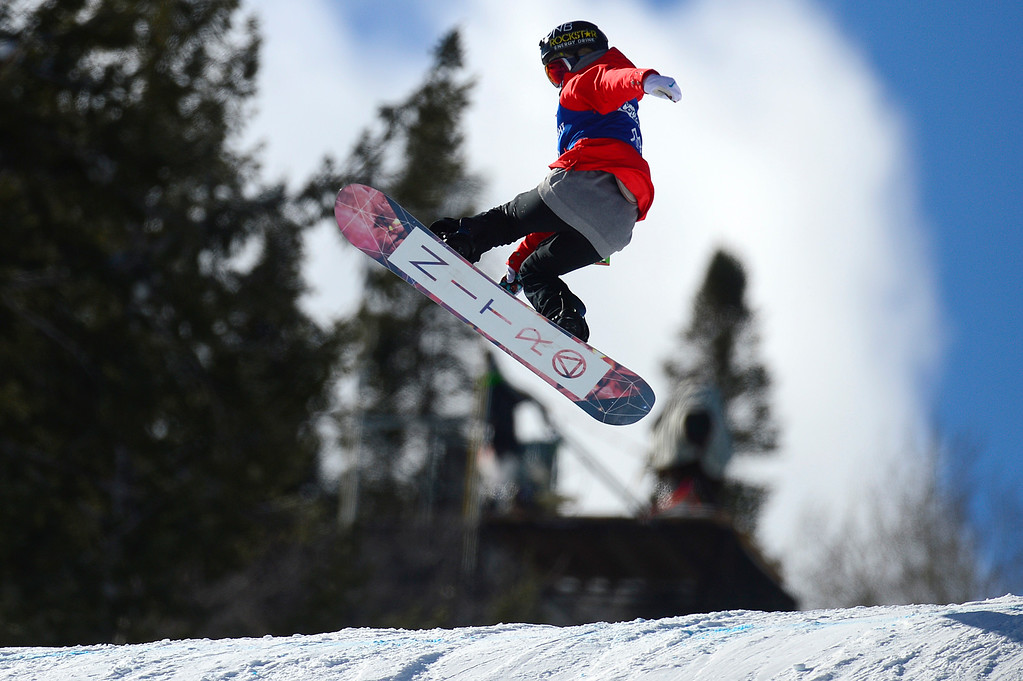 . Silje Norendal makes hits the second jump of her second run during the Women\'s Snowboard Slopestyle Finals at Winter X Games 2016 at Buttermilk Mountain on January 29, 2016 in Aspen, Colorado. (Photo by Brent Lewis/The Denver Post)