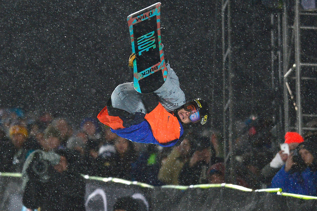 . Matt Ladley flips in his first run during men\'s halfpipe finals at Winter X Games 2016 at Buttermilk Mountain on January 29, 2016 in Aspen, Colorado. The event was canceled after the first set of runs due to weather. Matt Ladley, from Steamboat Springs, Colorado, took the gold with a score of 82.33 after finishing one run. (Photo by Brent Lewis/The Denver Post)