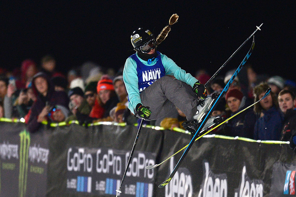 . ASPEN, CO - JANUARY 29: Maddie Bowman finishes off her run while fans watch on during the finals of women\'s ski half pipe at Winter X Games 2016 at Buttermilk Mountain on January 29, 2016 in Aspen, Colorado. Maddie Bowman won her fourth consecutive gold medal with a score of 85.33. (Photo by Brent Lewis/The Denver Post)