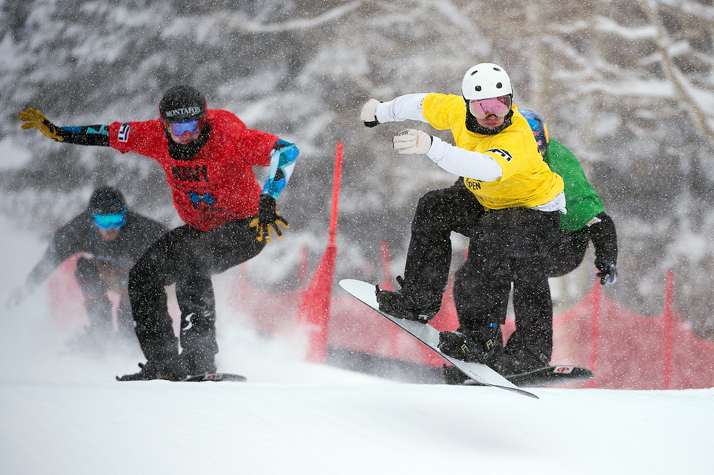 . ASPEN, CO - JANUARY 31: From L-R, Alessandro Haemmerie #205 in red, Jarryd Hughes #209 in yellow and Alex Pullin #215 race in the men\'s final of men\'s boardercross at Winter X Games 2016 Aspen at Buttermilk Mountain on January 31, 2016, in Aspen, Colorado. (Photo by Daniel Petty/The Denver Post)