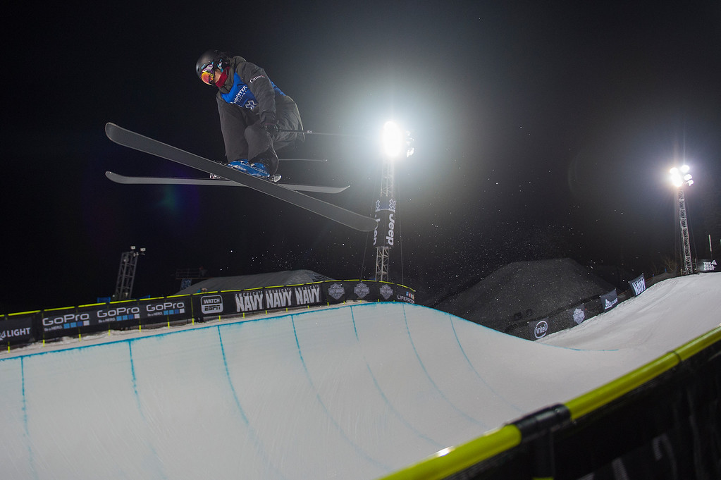 . ASPEN, CO - JANUARY 29: Roz Groenewoud of Canada catches air during the second run of the women\'s ski halfpipe at Winter X Games 2016 Aspen at Buttermilk Mountain on January 29, 2016, in Aspen, Colorado. Groenewoud finished sixth overall. (Photo by Daniel Petty/The Denver Post)