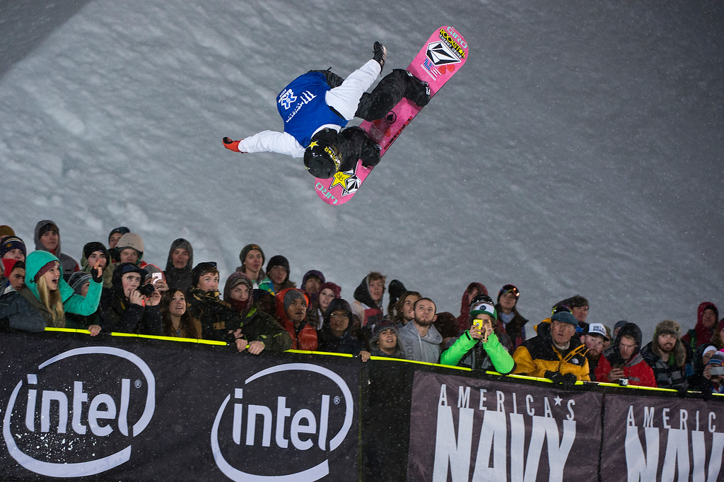 . Gabe Ferguson of Indianapolis competes in his first run during the men\'s snowboard halfpipe at Winter X Games 2016 Aspen at Buttermilk Mountain on January 30, 2016, in Aspen, Colorado. Ferguson finished fifth overall after the event was called after one run because of heavy snow. (Photo by Daniel Petty/The Denver Post)
