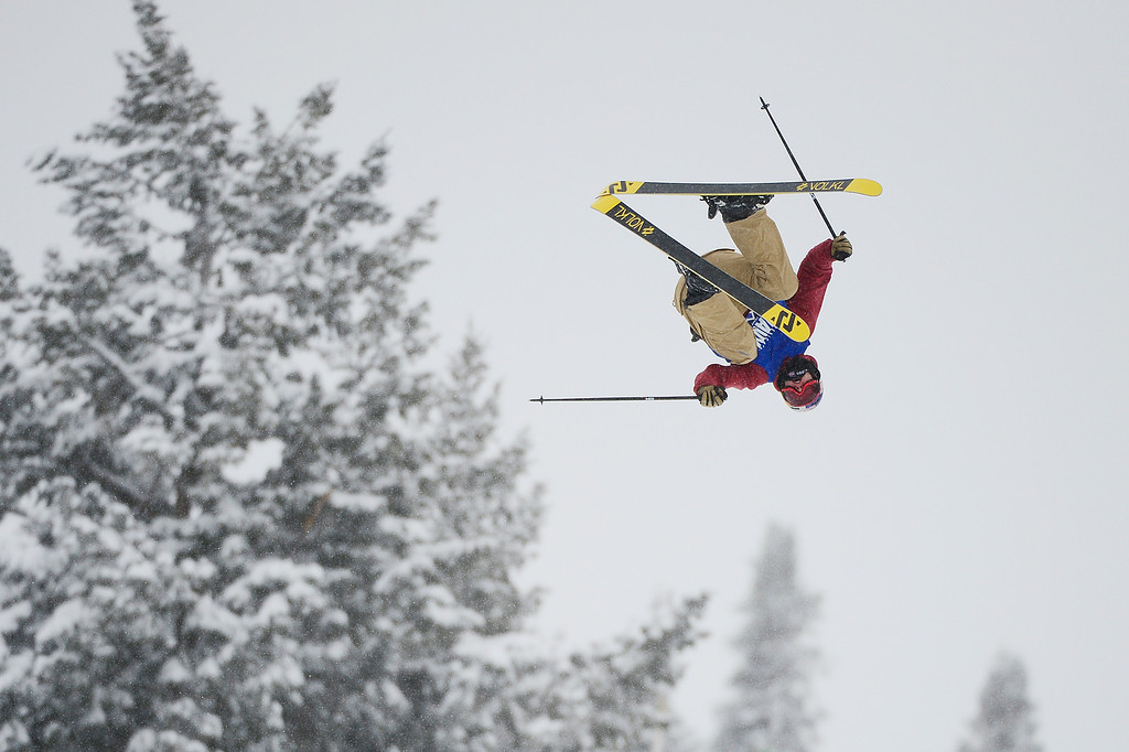 . ASPEN, CO - JANUARY 31: Oyster Brazen flips from the second jump in his third run during Men\'s Ski Slopestyle at Winter X Games 2016 at Buttermilk Mountain on January 31, 2016 in Aspen, Colorado. Jossi Wells won the event with a score of 90 coming after his last run. (Photo by Brent Lewis/The Denver Post)
