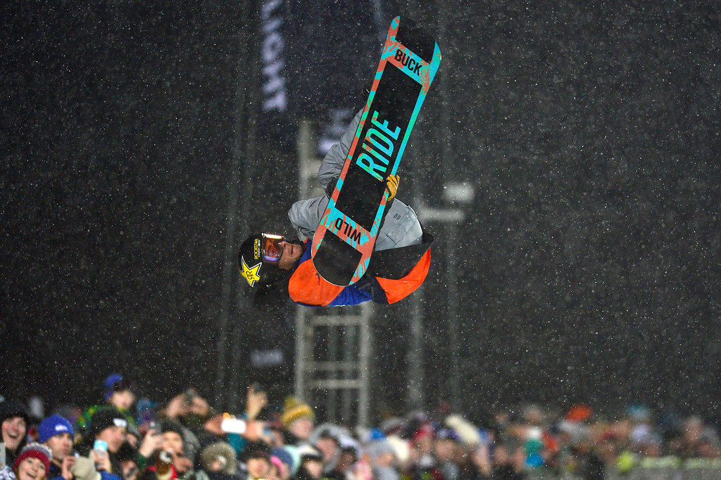 . Matt Ladley pulls a rodeo during the men\'s halfpipe finals at Winter X Games 2016 at Buttermilk Mountain on January 29, 2016 in Aspen, Colorado. The event was canceled after the first set of runs due to weather. Matt Ladley, from Steamboat Springs, Colorado, took the gold with a score of 82.33 after finishing one run. (Photo by Brent Lewis/The Denver Post)