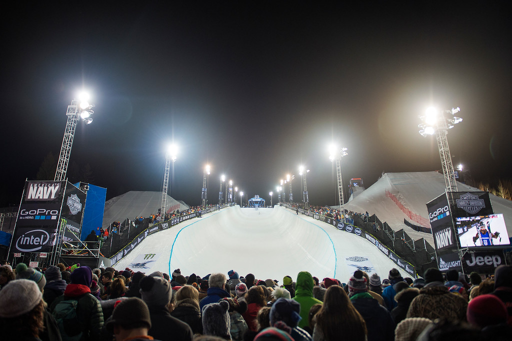 . ASPEN, CO - JANUARY 29: A general view of the halfpipe at Winter X Games 2016 Aspen at Buttermilk Mountain on January 29, 2016, in Aspen, Colorado. (Photo by Daniel Petty/The Denver Post)