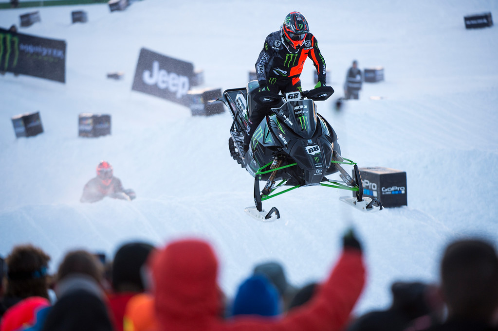 . Tucker Hibbert #68 races during the preliminary round of the snowmobile snocross event at Winter X Games 2016 Aspen at Buttermilk Mountain on January 28, 2016, in Aspen, Colorado. (Photo by Daniel Petty/The Denver Post)