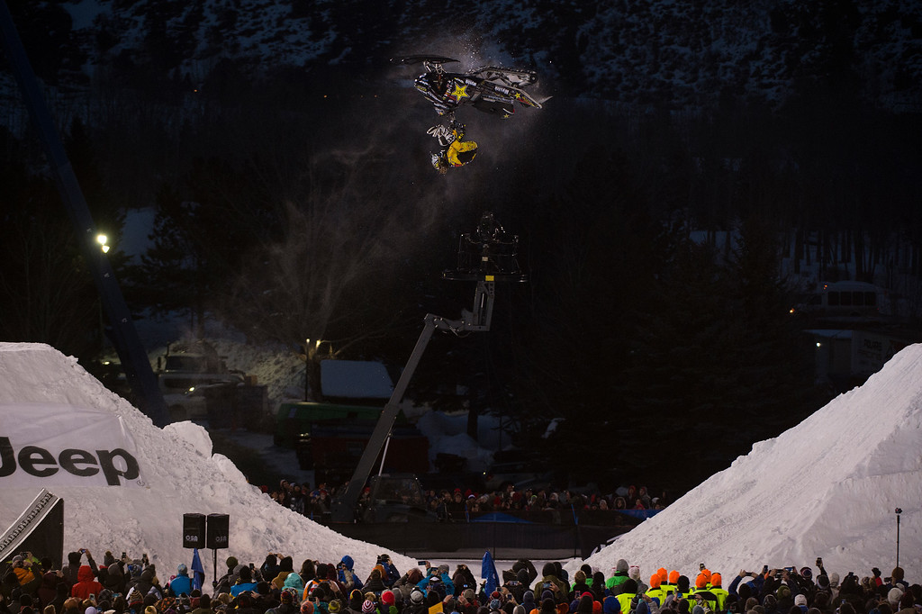 . Colten Moore #25 flips during his first run during the snowmobile freestyle at Winter X Games 2016 Aspen at Buttermilk Mountain on January 29, 2016, in Aspen, Colorado. (Photo by Daniel Petty/The Denver Post)