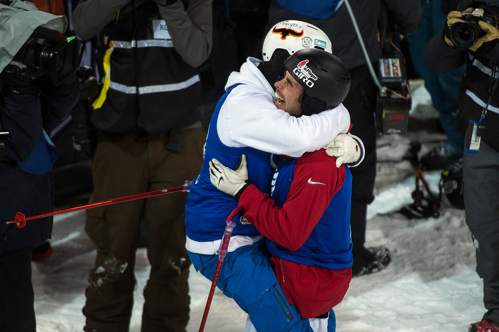 . ASPEN, CO - JANUARY 28: Kevin Rolland (R) of France gets a hug from fellow countryman Benoit Valentin (L) after Rolland won the gold medal on his final run of the men\'s ski halfpipe at Winter X Games 2016 Aspen at Buttermilk Mountain on January 28, 2016, in Aspen, Colorado. (Photo by Daniel Petty/The Denver Post)