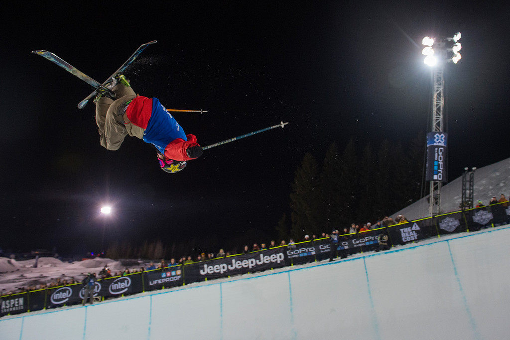 . Alex Ferreira #718 of Aspen competes in the men\'s ski halfpipe at the Winter X Games 2016 Aspen at Buttermilk Mountain on January 28, 2016, in Aspen, Colorado. (Photo by Daniel Petty/The Denver Post)
