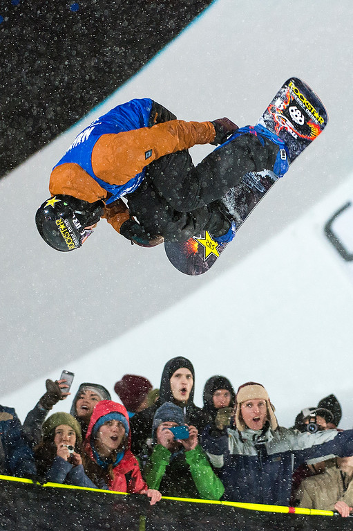 . Brett Esser #801 competes in his first run during the men\'s snowboard halfpipe at Winter X Games 2016 Aspen at Buttermilk Mountain on January 30, 2016, in Aspen, Colorado. Esser finished fourth after the event was called after one run because of heavy snow. (Photo by Daniel Petty/The Denver Post)