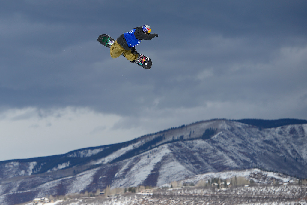 . Yuki Kadono goes for a grab on his third run during Snowboard Slopestyle Men\'s Final at Winter X Games 2016 at Buttermilk Mountain on January 29, 2016 in Aspen, Colorado. Mark McMorris won the event with the final score of 92.66.   (Photo by Brent Lewis/The Denver Post)