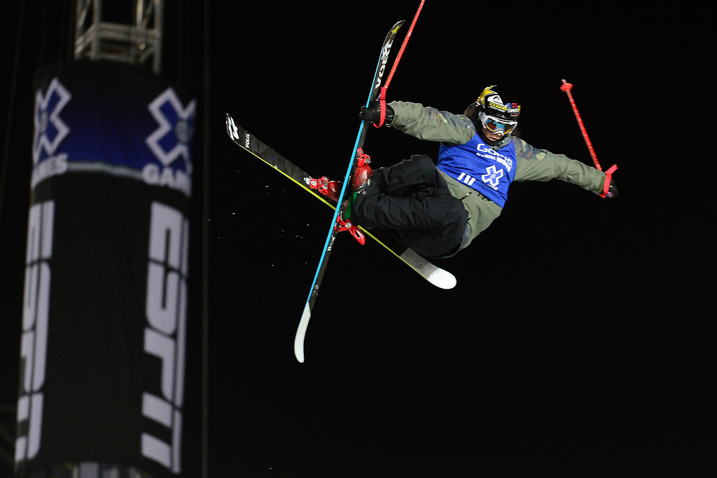 . Lyman Currier goes for a grab on his first run during the finals of men\'s ski halfpipe at Winter X Games 2016 at Buttermilk Mountain on January 28, 2016 in Aspen, Colorado. Kevin Rolland took the gold in the event with a score of 93.33 with the win coming after his final run. (Photo by Brent Lewis/The Denver Post)