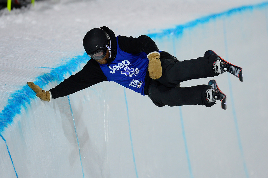 . Byron Wise does a hand plant on the edge of the pipe at the end of his second run during the finals of men\'s ski halfpipe at Winter X Games 2016 at Buttermilk Mountain on January 28, 2016 in Aspen, Colorado. Kevin Rolland took the gold in the event with a score of 93.33 with the win coming after his final run. (Photo by Brent Lewis/The Denver Post)