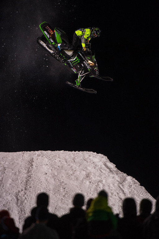 . Cory Davis #160 lands a trick during his final run of the snowmobile freestyle at Winter X Games 2016 Aspen at Buttermilk Mountain on January 29, 2016, in Aspen, Colorado. (Photo by Daniel Petty/The Denver Post)