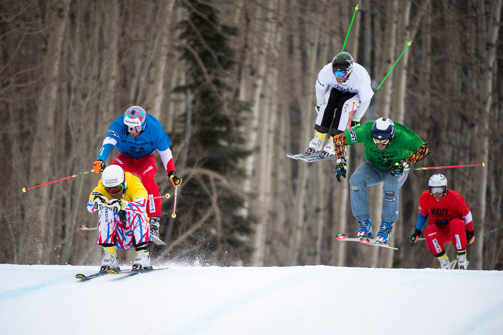 . From L-R, Bastien Midol, Alex Fiva, Thomas Zangerl, Chris Del Bosco and Jonas Lenherr finish in the men skiercross final at Winter X Games 2016 Aspen at Buttermilk Mountain on January 30, 2016, in Aspen, Colorado. (Photo by Daniel Petty/The Denver Post)