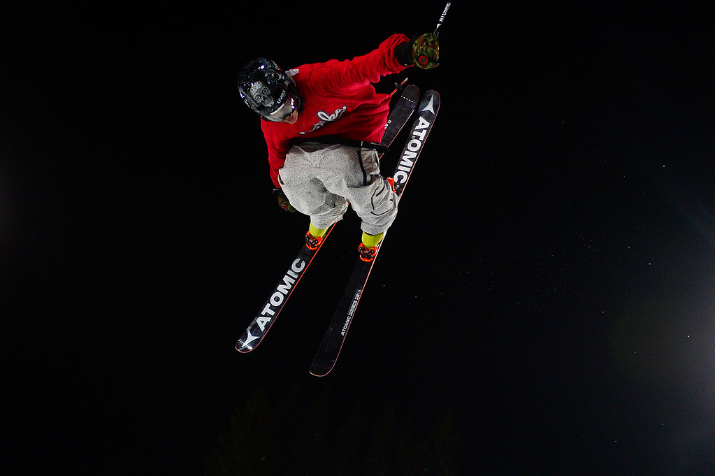 . Mike Riddle goes for a grab while on the superpipe during practice runs at Buttermilk Mountain on January 27, 2016 in Aspen, Colorado. On the eve of the start of the X Games Aspen, athletes take advantage of the practice day to get a feel of the mountain. (Photo by Brent Lewis/The Denver Post)