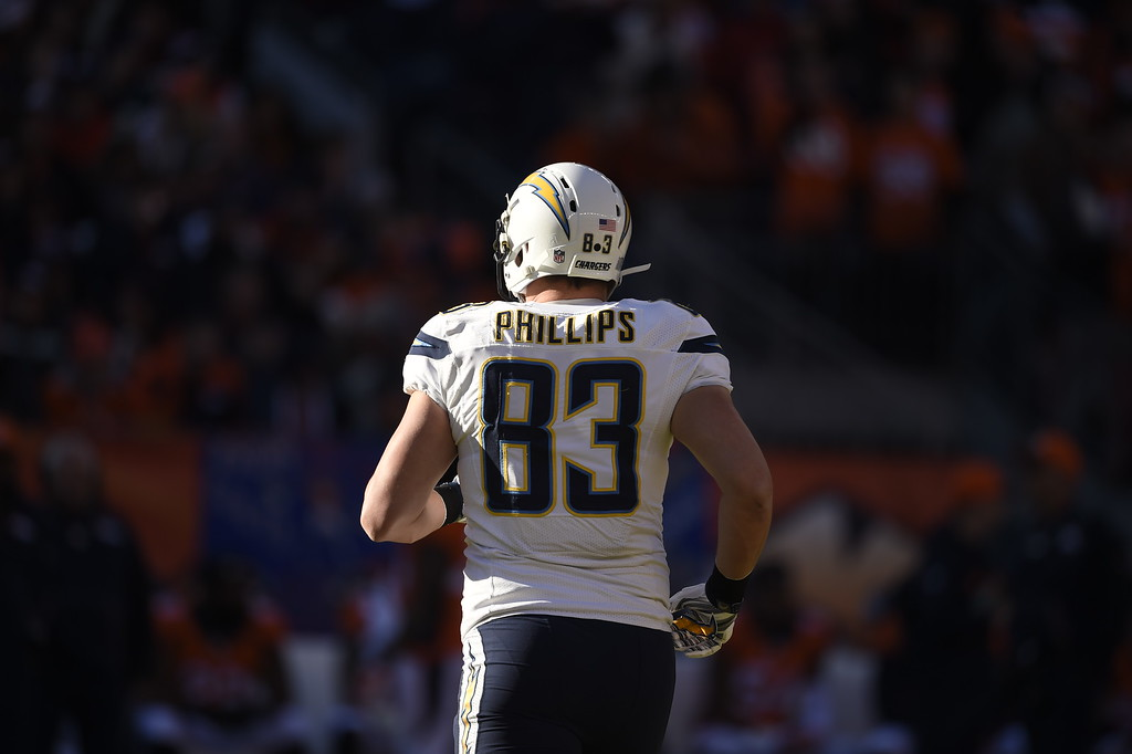 . John Phillips (83) of the San Diego Chargers takes the field to start the game. The Denver Broncos played the San Diego Chargers at Sports Authority Field at Mile High in Denver, CO on January 3, 2016. (Photo by Helen H. Richardson/The Denver Post)