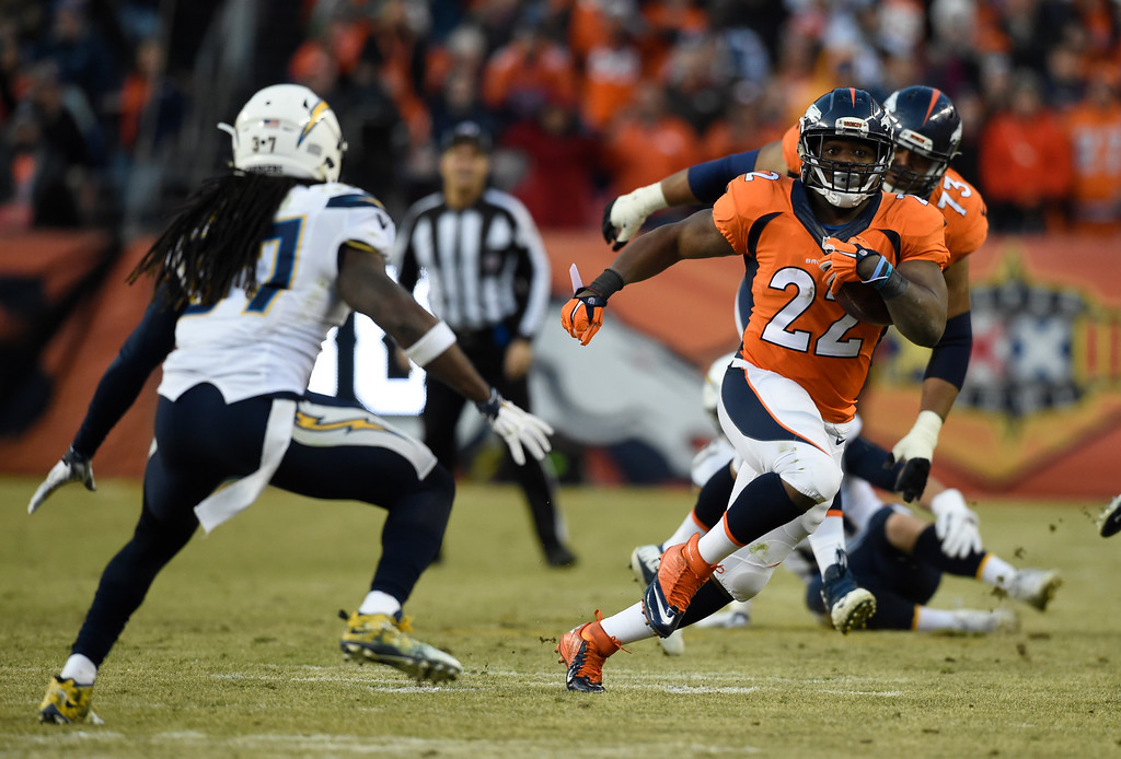 . Denver Broncos running back C.J. Anderson (22) picks up a big gain as San Diego Chargers strong safety Jahleel Addae (37) comes in on defense during the third quarter January 3, 2016 at Sports Authority Field at Mile High Stadium. (Photo By Helen Richardson/The Denver Post)