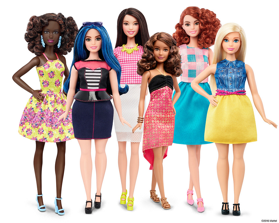 . This photo provided by Mattel shows a group of new Barbie dolls introduced in January 2016. Mattel, the maker of the famous plastic doll, said it will start selling Barbie�s in three new body types: tall, curvy and petite. She�ll also come in seven skin tones, 22 eye colors and 24 hairstyles. (Mattel via AP)