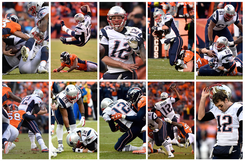 Tom Brady gets hit multiple times during the AFC championship game against New England Patriots at Sports Authority Field at Mile High Stadium in Denver, January, 24, 2016. (The Denver Post)