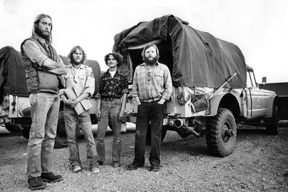 . MAR 1978: Four Of Eight Fired Crew Members Pose In Front Of Truck In Which Marijuana Seeds Were Found. From the left are Neal Neubauer, Mark Lindquist, Norman Beckel and Chris Cunningham, who was absent the day the seeds were discovered. (Lyn Alweis/The Denver Post)