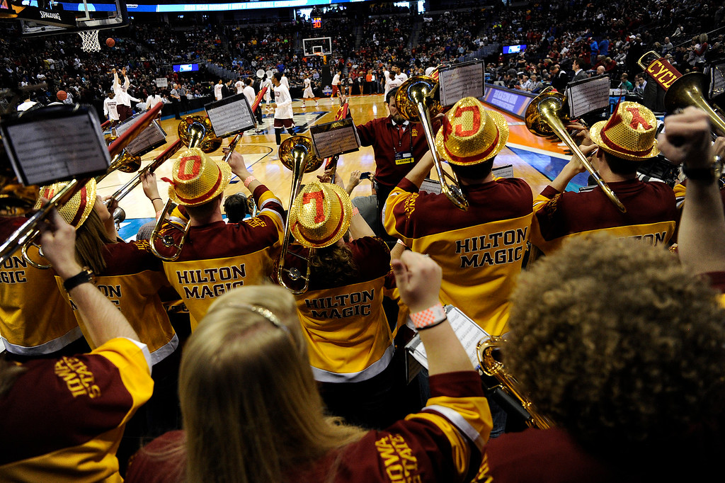 . DENVER, CO - MARCH 19: The Iowa State Cyclones band plays during the first half of their second round NCAA Tournament game on Saturday, March 19, 2016. (Photo by AAron Ontiveroz/The Denver Post)
