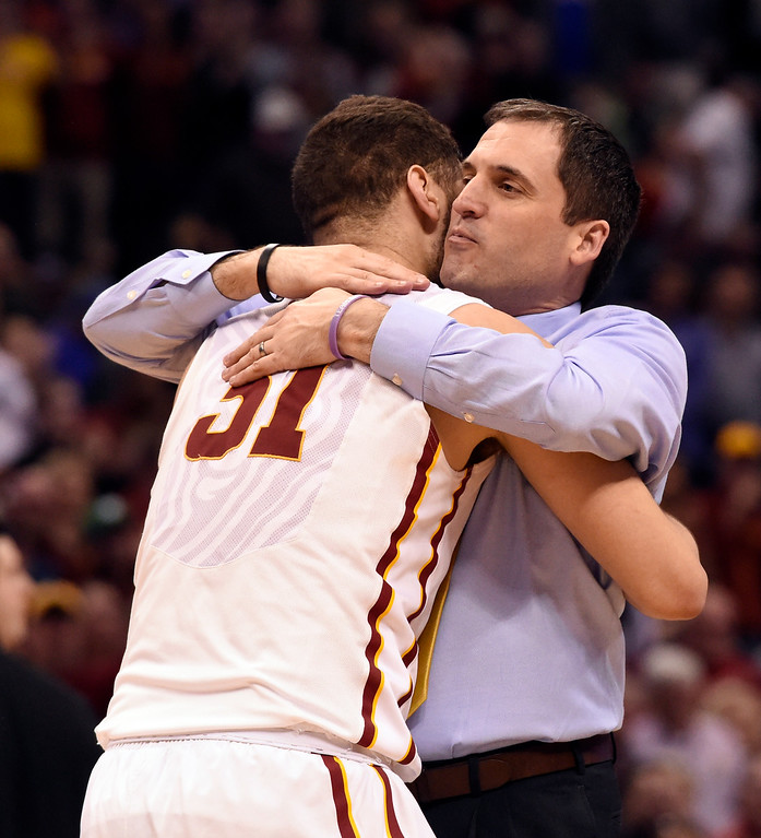 . DENVER, CO - MARCH 19:  Iowa State Cyclones Steve Prohm hugs Iowa State Cyclones forward Georges Niang (31) after their win during the second round of the men\'s basketball game in the NCAA Tournament March19, 2016 at Pepsi Center in Denver. Iowa State Cyclones defeated the Arkansas Little Rock Trojans 78-61. (Photo By John Leyba/The Denver Post)