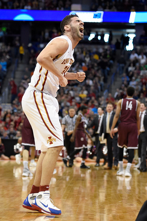 . DENVER, CO - MARCH 19: Georges Niang (31) of the Iowa State Cyclones celebrates as the Cyclones take a 12-point lead against the Arkansas Little Rock Trojans during the first half of their second round NCAA Tournament game on Saturday, March 19, 2016. (Photo by AAron Ontiveroz/The Denver Post)
