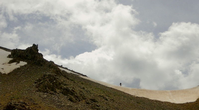 Backpacker on the summit of Lake Ann Pass on the Colorado Trail. Dean Krakel/The Denver Post