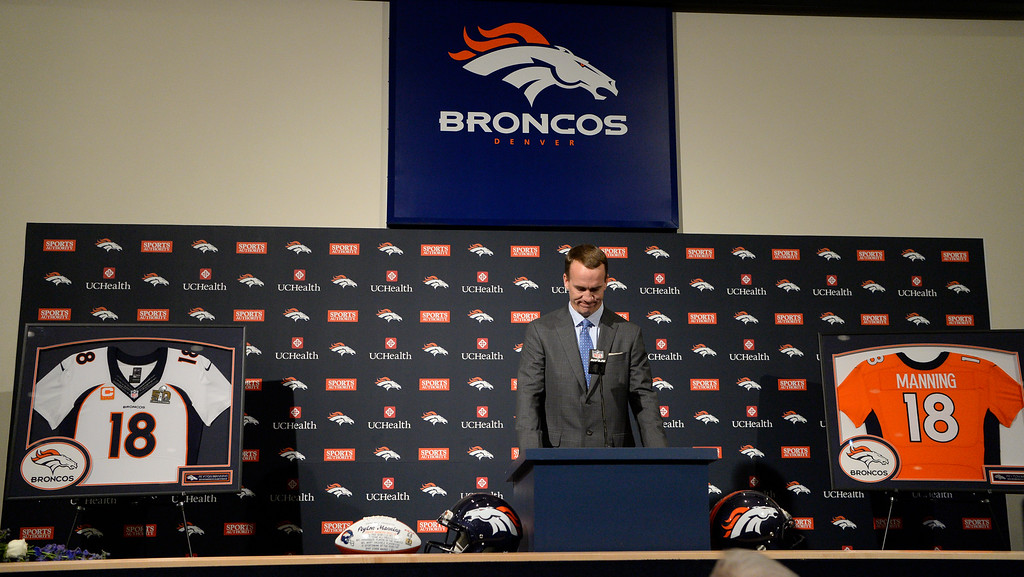 . ENGLEWOOD, CO - MARCH 07: Denver Broncos Peyton Manning holds his head down prior to his speech at the podium to announce his retirement. The Denver Broncos hold a press conference to announce the retirement of Denver Broncos quarterback Peyton Manning March 7, 2016 at UCHealth Training Center. (Photo By John Leyba/The Denver Post)